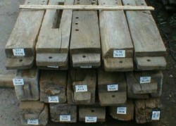 Original oak beams as architectural salvage for reclamation