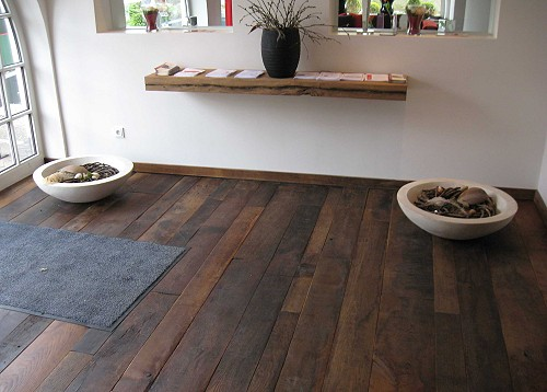 Flooring, oak, made from reclaimed attic boards.